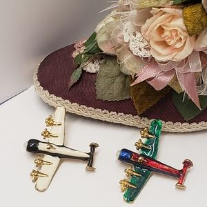 2 Unique Vintage Style Airplane Brooches